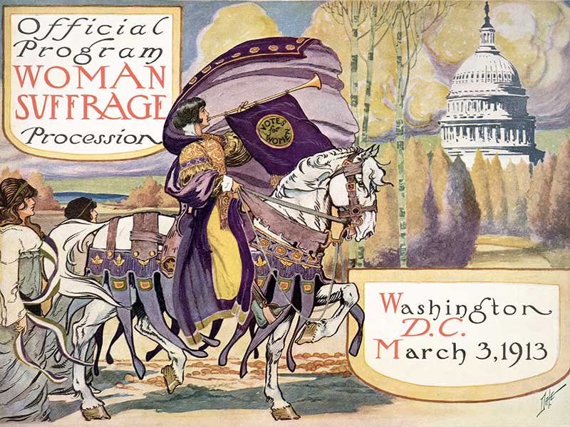 Official program - Woman suffrage procession, Washington, D.C. March 3, 1913. Cover of program for the National American Women's Suffrage Association procession, showing woman, in elaborate attire, with cape, blowing long horn, from which is draped a