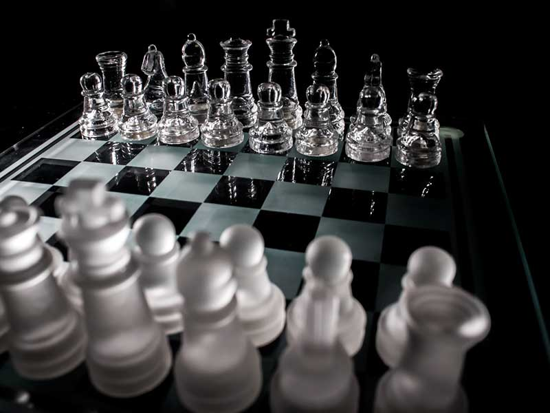 chess board with pawns
